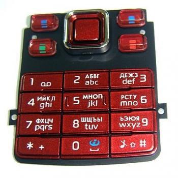 Клавиатура Nokia 6300 красная (рус/англ)