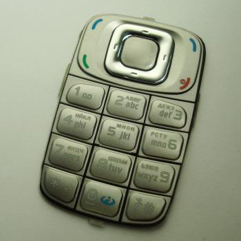 Клавиатура Nokia 6085 серебристая (рус/англ)