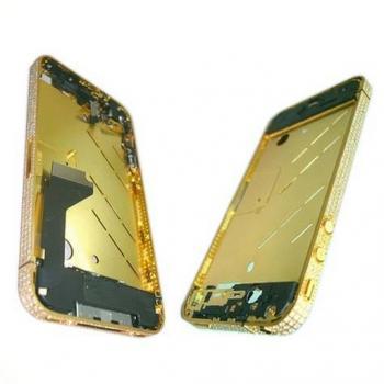 Средняя часть корпуса iPhone 4 золотистая c кристалами Swarovski + боковые кнопки