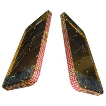 Средняя часть корпуса iPhone 4S золотистая c розовыми кристалами Swarovski + боковые кнопки