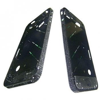 Средняя часть корпуса iPhone 4 черная c кристалами Swarovski + боковые кнопки