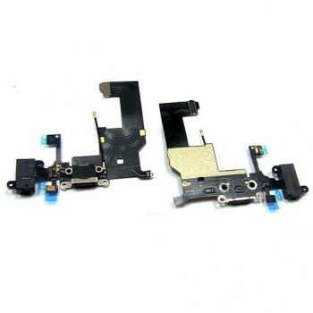 Шлейф iPhone 5 + разъемы зарядки и под наушники, черные (оригинал)