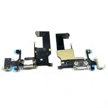 Шлейф iPhone 5 + разъемы зарядки и под наушники, белые (оригинал)