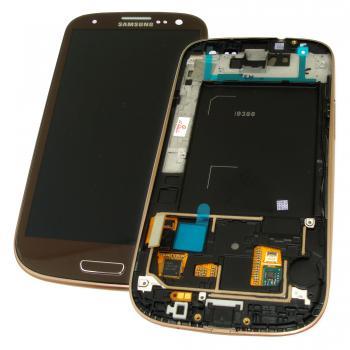 Дисплей Samsung i9300 Galaxy S3 с сенсором, рамкой и кнопкой HOME янтарно - коричневого цвета (оригинал Китай)