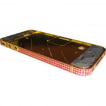 Средняя часть корпуса iPhone 4 золотистая c розовыми кристалами Swarovski + боковые кнопки
