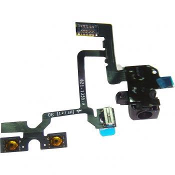 Шлейф iPhone 4 + разъем под наушники черный (оригинал)
