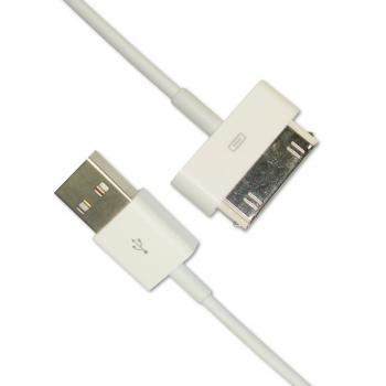 Кабель зарядки и синхронизации iPhone 4 / 4S / 3G / 3GS / iPad / iPod (более ранние модели) белый (оригинал Китай)