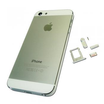 Задняя крышка корпуса iPhone 5 серебристая + внешние кнопки и лотком SIM карты