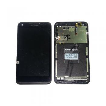 Дисплей Lenovo S880 с сенсором и рамкой, черный (оригинал БУ, снято с аппарата)
