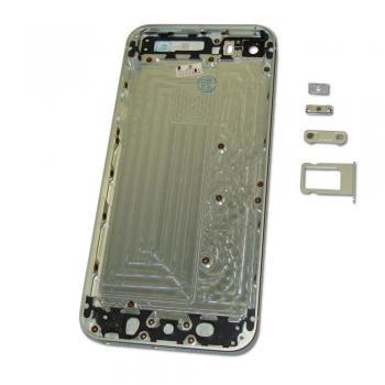 Задняя крышка корпуса iPhone 5S серебристая с белыми вставками + внешние кнопки и лотком SIM карты