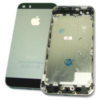 Задняя крышка корпуса iPhone 5S черная с черными вставками + внешние кнопки и лотком SIM карты