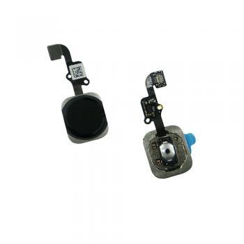 Кнопка HOME внешняя для iPhone 6 / 6 Plus черного цвета, кольцо - черное + шлейф (оригинал)