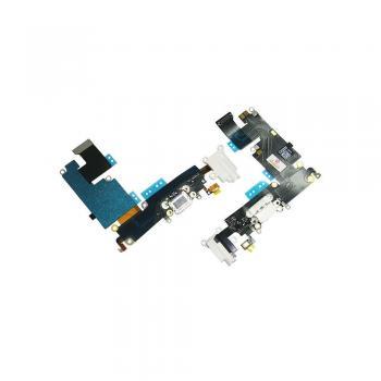 Шлейф iPhone 6 Plus + разъемы зарядки и под наушники белые (оригинальные комплектующие)