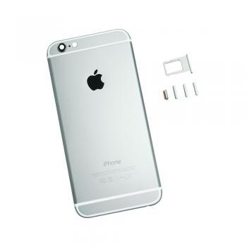 Задняя крышка корпуса iPhone 6 серебристая + внешние кнопки и лотком SIM карты