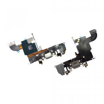 Шлейф iPhone 6S + разъемы зарядки и под наушники темно-серые (оригинал)