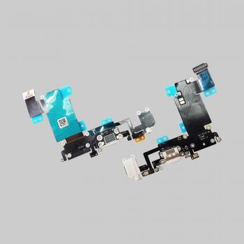 Шлейф iPhone 6S Plus + разъемы зарядки и под наушники белые (оригинальные комплектующие)