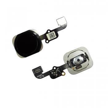 Кнопка HOME внешняя для iPhone 6S / 6S Plus черного цвета, кольцо - черное + шлейф (оригинал)