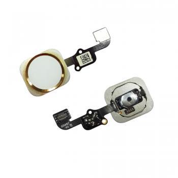 Кнопка HOME внешняя для iPhone 6S / 6S Plus белого цвета, кольцо - золотистое + шлейф (оригинал)