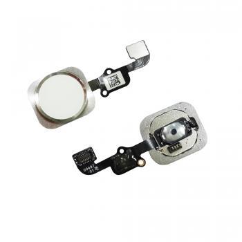 Кнопка HOME внешняя для iPhone 6S / 6S Plus белого цвета, кольцо - серебристое + шлейф (оригинал)