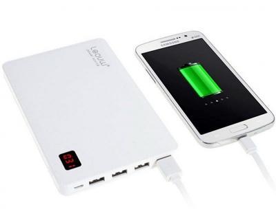 Внешняя аккумуляторная батарея LEOUW LE-211 + LCD датчик заряда белая (19 800 mAh)