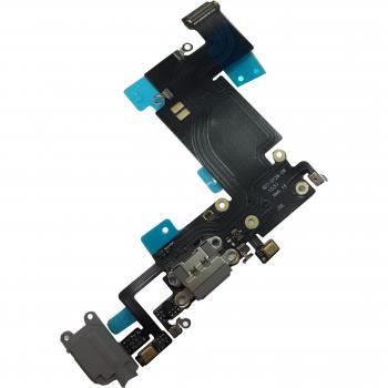 Шлейф iPhone 6S Plus + разъемы зарядки и под наушники темно-серые (копия)