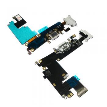 Шлейф iPhone 6 Plus + разъемы зарядки и под наушники светло-серые (копия)