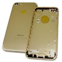 Задняя крышка корпуса iPhone 7 золотистая + внешние кнопки и держатель SIM карты (копия AAA)