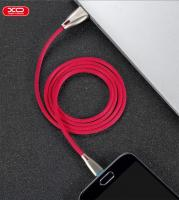 Lightning кабель зарядки и синхронизации XO NB25 Blue LED Zinc Alloy Fabric Braided для iPhone iPad iPod красный (1000 мм)