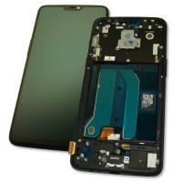 Дисплей OnePlus 6 с сенсором и рамкой, черный (оригинальные комплектующие)