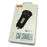 Автомобильное зарядное устройство XO CC-12 с 2 USB выходами: QC3.0 и 2.4A Max черное