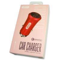 Автомобильное зарядное устройство XO CC-12 с 2 USB выходами: QC3.0 и 2.4A Max красное