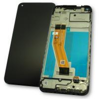 Дисплей Samsung M115F Galaxy M11 2020 с сенсором и рамкой, черный (оригинал Китай)