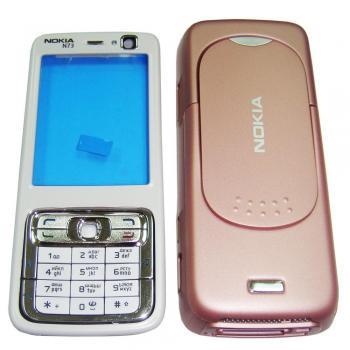 Корпус Nokia N73 розовый, в комплекте клавиатура