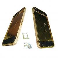 Средняя часть корпуса iPhone 4S золотистая c белыми кристалами Swarovski + боковые кнопки