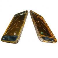 Средняя часть корпуса iPhone 4 золотистая c синими кристалами Swarovski + боковые кнопки