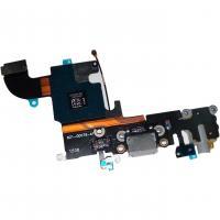 Шлейф iPhone 6S + разъемы зарядки и под наушники темно-серые (оригинальные комплектующие)