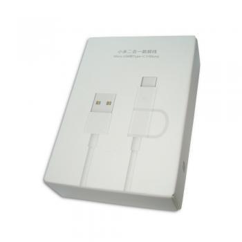 Micro USB кабель зарядки и синхронизации Xiaomi + переходник с Micro USB на Type-C белый (100 см) (оригинал)