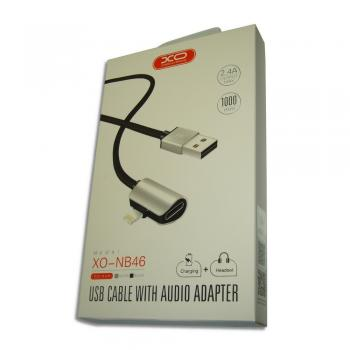 Lightning кабель зарядки и синхронизации XO NB46 + iPhone Earphone для iPhone iPad iPod серебристый (1000 мм)