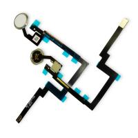 Кнопка HOME внешняя для iPad Mini 3 белого цвета, кольцо - серебристое + шлейф (копия ААА)