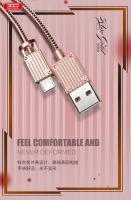 Lightning кабель зарядки и синхронизации XO NB33 Luggage Metal для iPhone iPad iPod золотистый (1000 мм)
